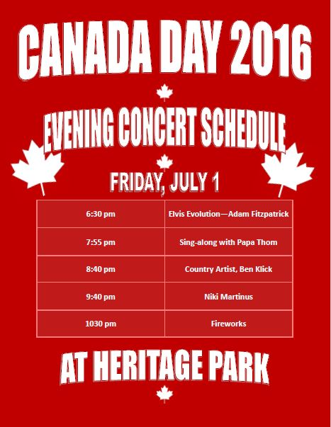Canada Day Concert Schedule