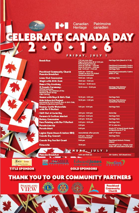 Canada Day Events Schedule 2016