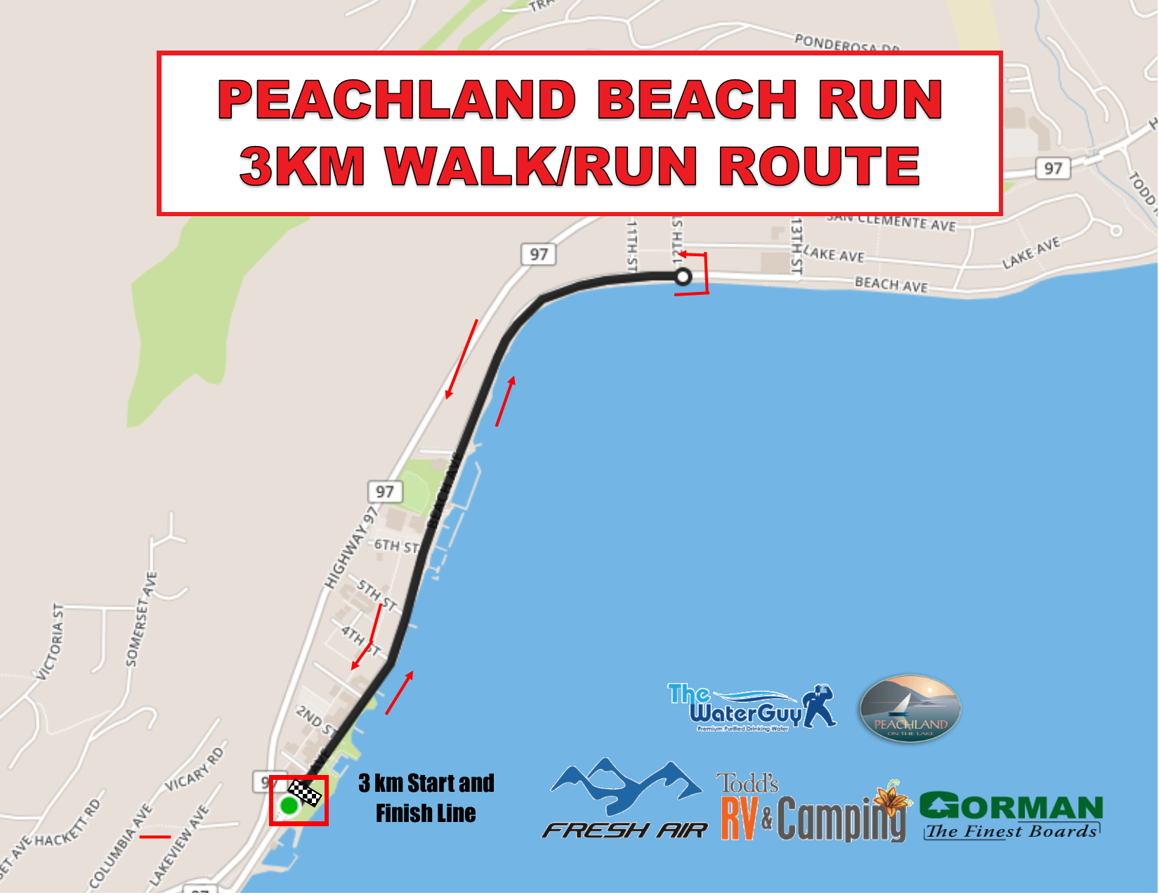 Beach Run 3km Map