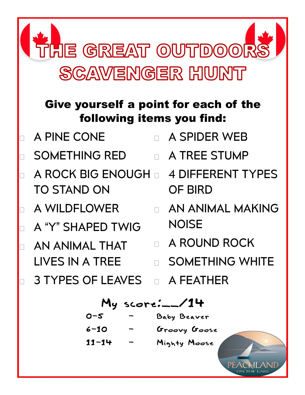 The Great Outdoors Scavenger Hunt