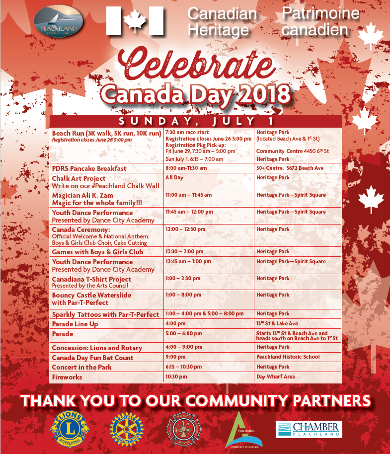2018 Canada Day Events Schedule