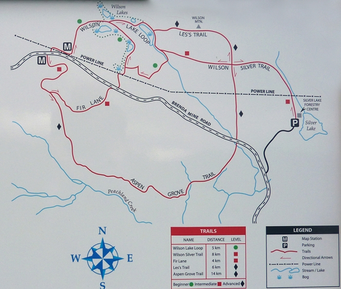 Xcountry Ski and Snowshoe Trail Map of the Wilson Lake area above Peachland